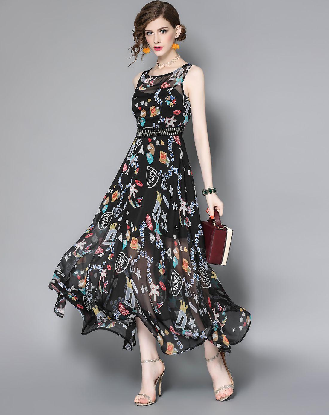 Adorewe vipme aline dressesdesigner wlzd black chiffon printed