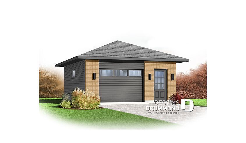 Vue Avant Modèle De Base Plan De Garage Contemporain Simple La