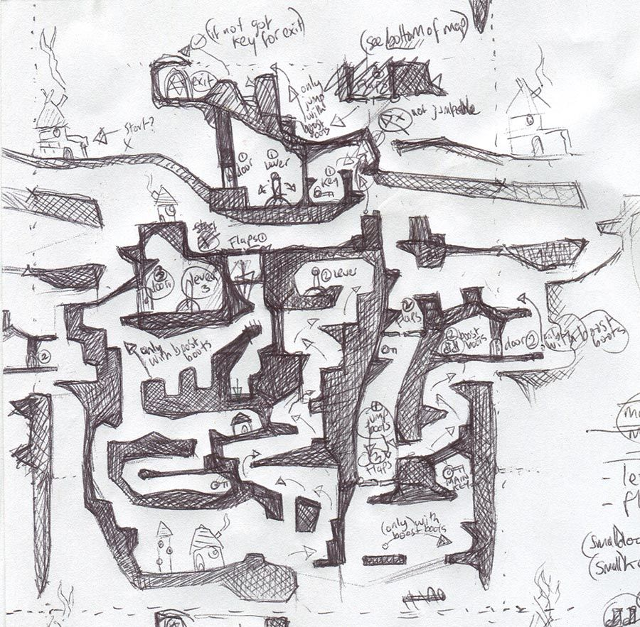 biro sketched level design by peter mcclory - Game Design Ideas