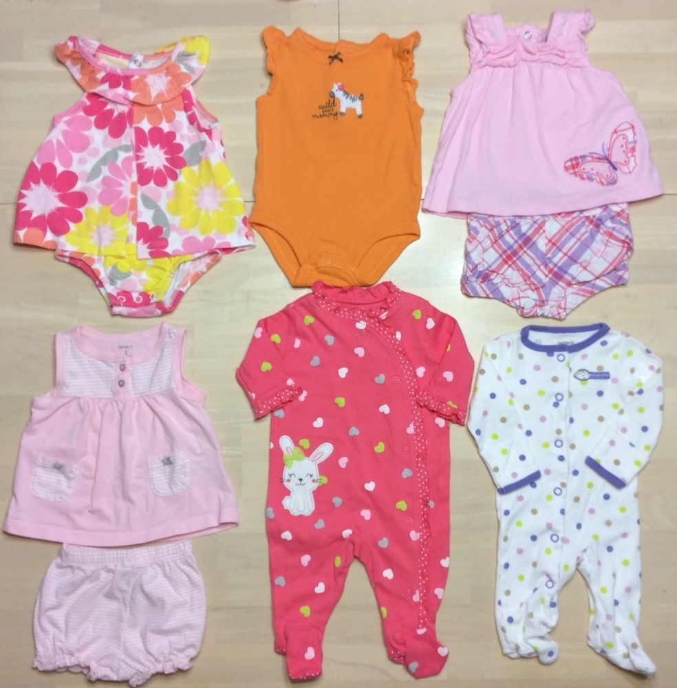 Baby Girl Outfits Lot Newborn 7-7 7 Month Spring Summer Carters