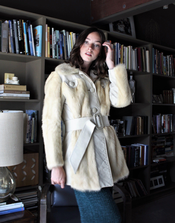 Fur Leather Coat Vintage 1970s, Small / Medium, Short