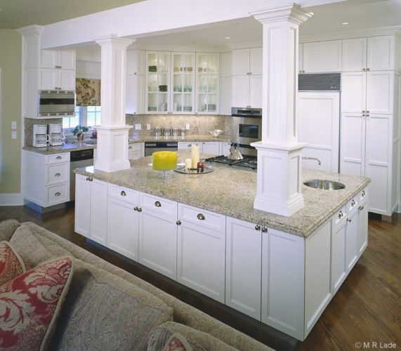 Kitchen island with columns artisan woods kitchens - Kitchen island with post ...