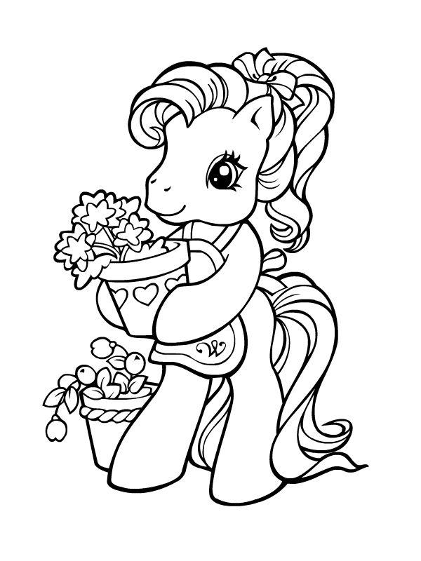 Petit poney au jardin mes petites pouliches coloriage mon petit poney coloriage poney et - My little jardin ...
