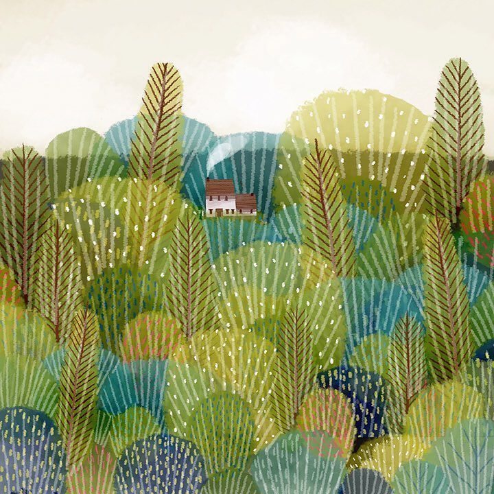 "jane newland on Twitter: ""House on the hill #greenery #illustration https://t.co/LcArQUKzAt https://t.co/Allc4JqOFm"" 