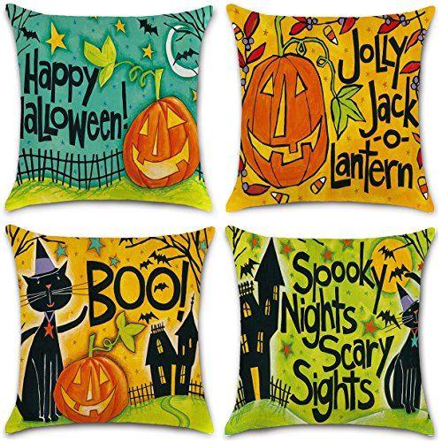 4Pcs #Happy #Halloween #Cotton #Linen #Pillow #Cover #Square #Burlap - halloween decorated cars