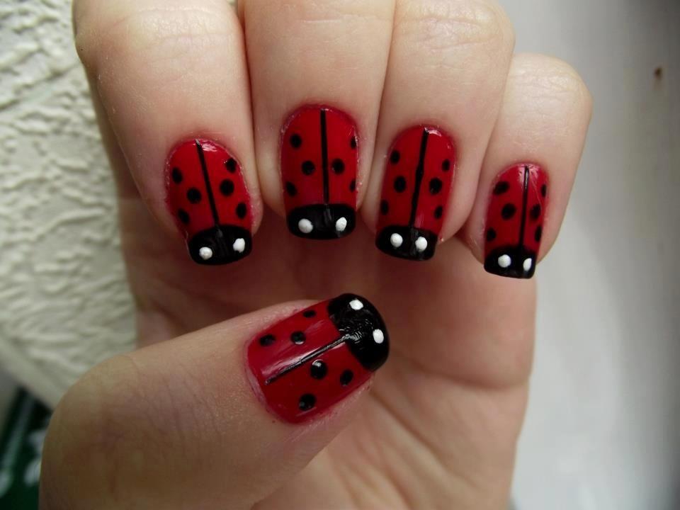 Lady bug nails. | finger paint. | Nail designs, Nail art ...