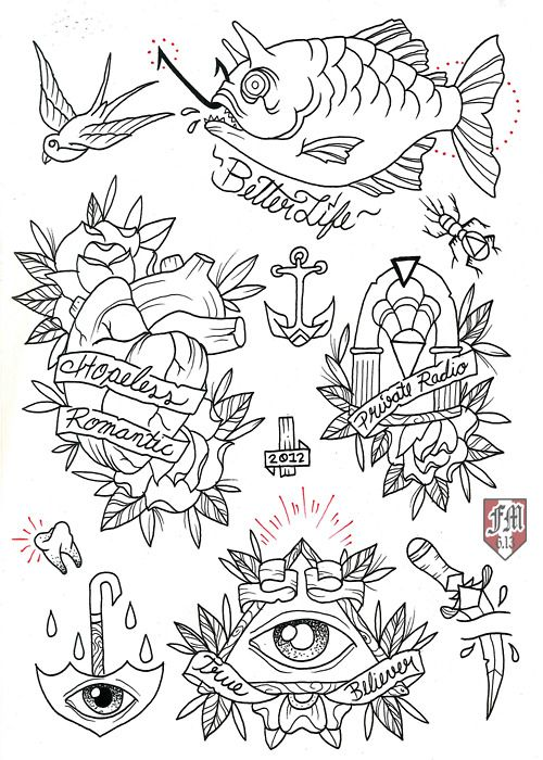 Traditional Tattoo Line Drawings