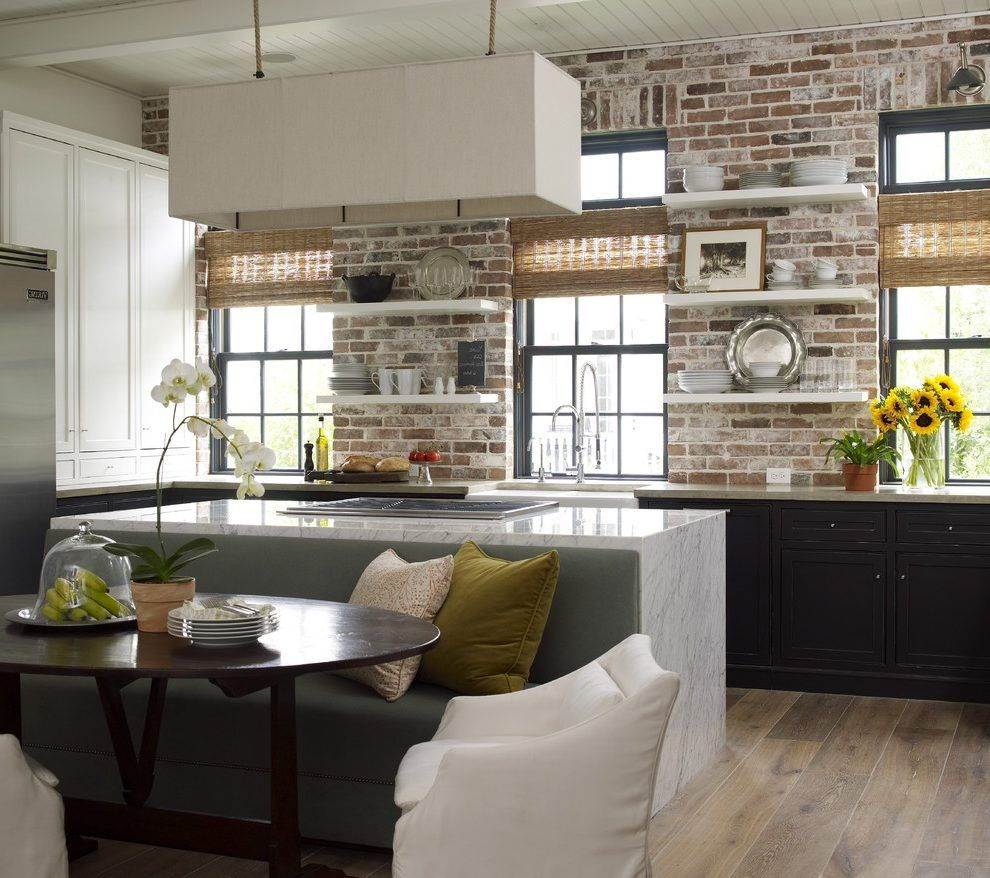 Faux Brick Accent Corner Wall Kitchen: Exposed Brick Kitchen, Brick Wall Kitchen