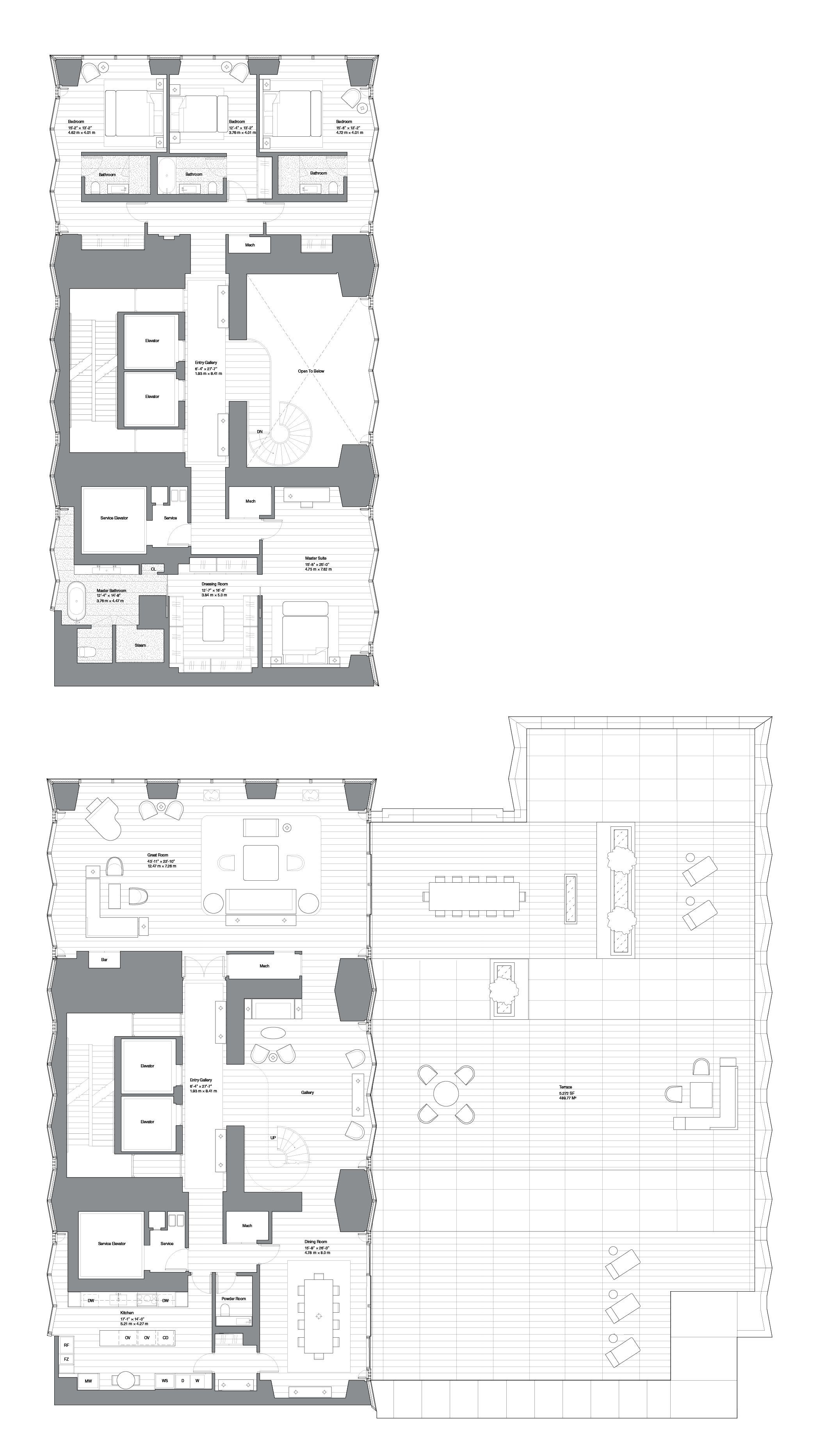 One Hundred East Fifty Third Street Residence A Duplex Floors 10 11 Floor Plans Cool Apartments Apartment Floor Plan