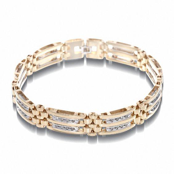 95e62744aff37 Men's 1 CT. T.w. Diamond Bracelet in 10K Two-Tone Gold - 8.5 ...