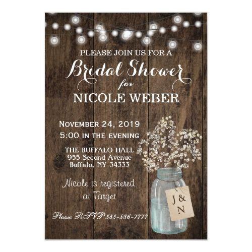 Rustic Country Mason Jar Barn Bridal Shower Invite | Zazzle.com