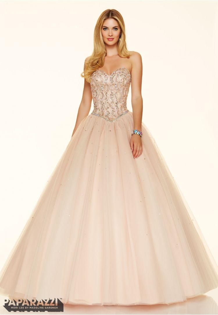 Mori lee jeweled beading on a tulle ball gown available at