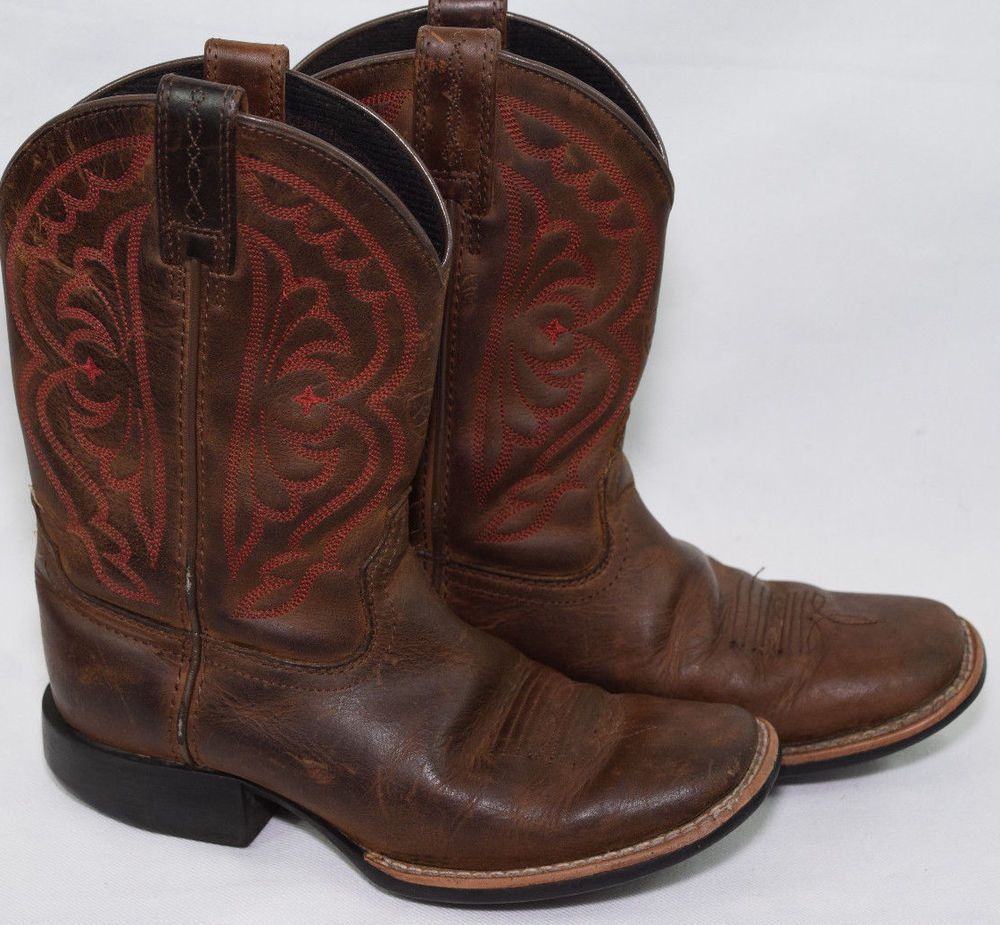 2ad28af88bb Ariat #Leather Western Boots Brown Red Stitching Kids 13 Boys Girls ...