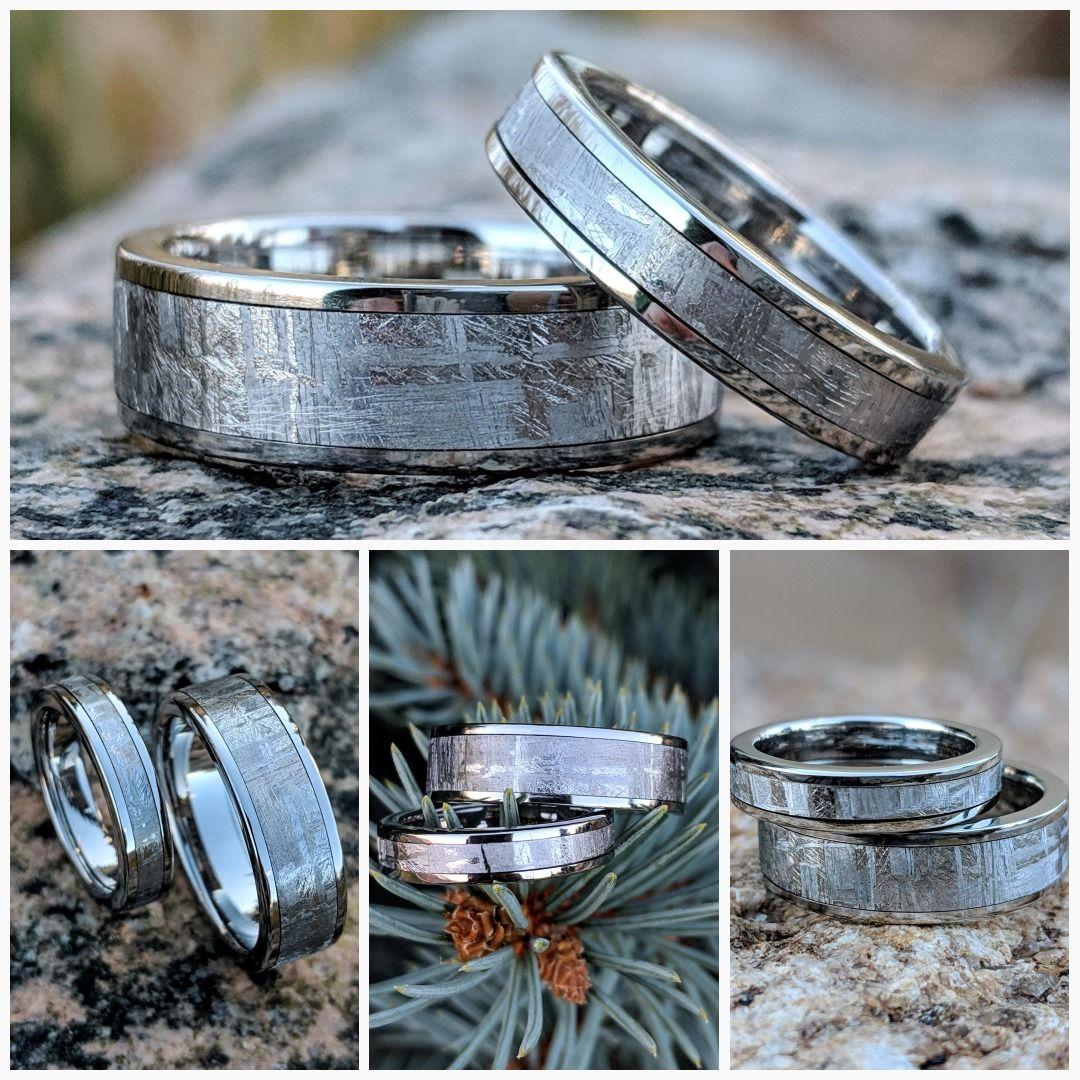 Meteorite Ring Wedding Ring Set Cobalt Chrome Ring Sleeve