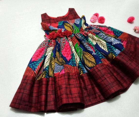 Ankara Girls Dress With Head Wrap, Baby Clothes, A