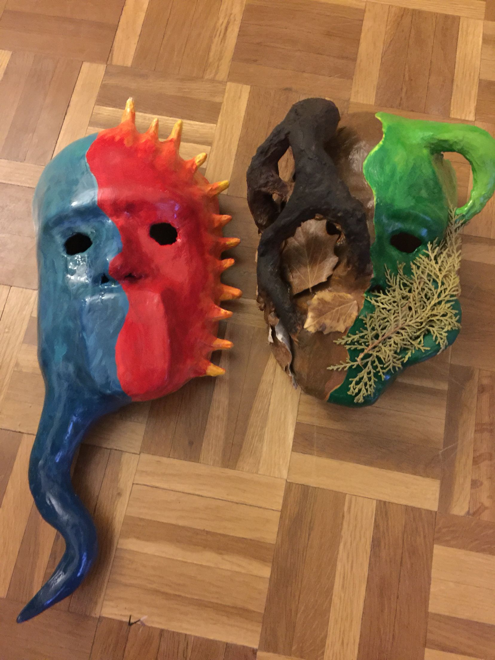 You can connect Art with Science; students can create a mask related to one concept of other subject, for example in this picture you can see the fourth seasons.