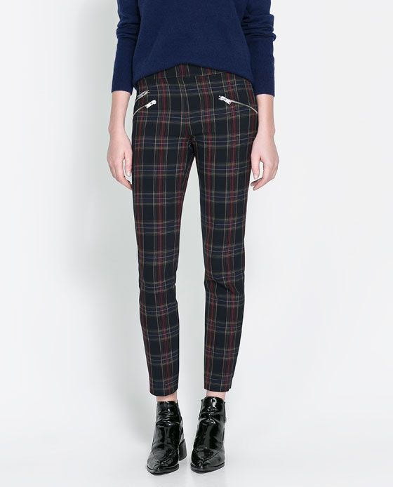 7bb89a98 CHECKERED SKINNY TROUSERS WITH ZIP from Zara | Pants in 2019 | Blue ...