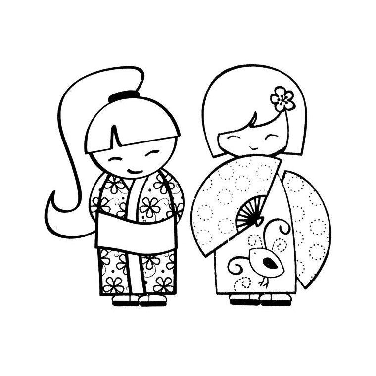 coloriage-kokeshi.jpg (760×760) | kokeshi | Pinterest | Japon ...