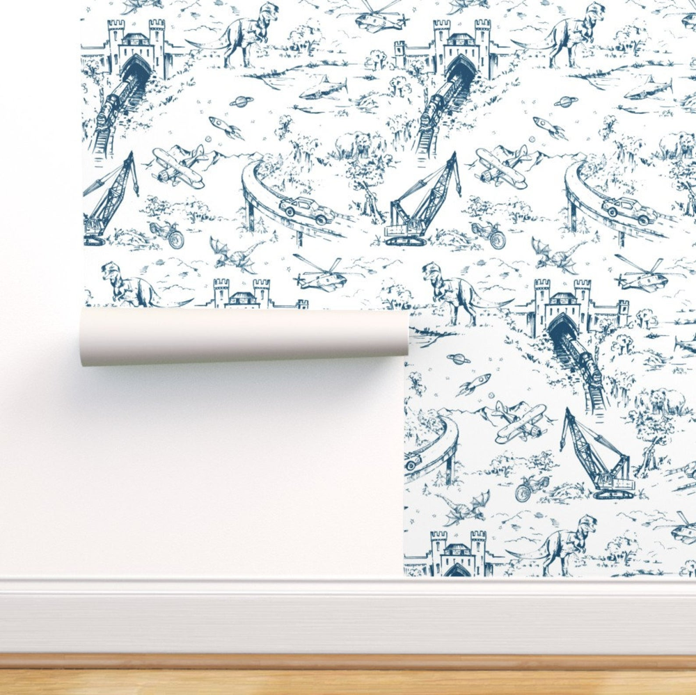 Dino Toile Wallpaper Adventure Toile Indigo By Pattern State Etsy Toile Wallpaper Self Adhesive Wallpaper Peel And Stick Wallpaper
