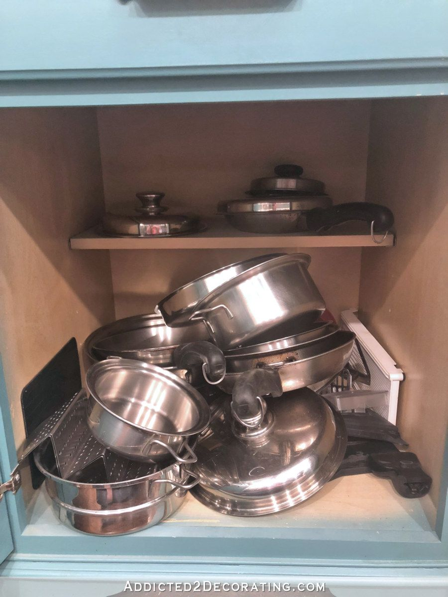 diy pull out shelves pots pans organization diy pull out shelves pan organization pull on kitchen organization pots and pans id=90192