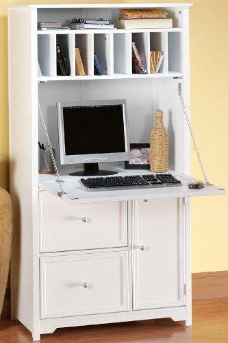 Oxford Tall Secretary Desk 1 Door 2 Drawer White White
