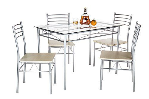 Dining Table Set, VECELO 5PC Glass Table and 4 Chair Sets Metal