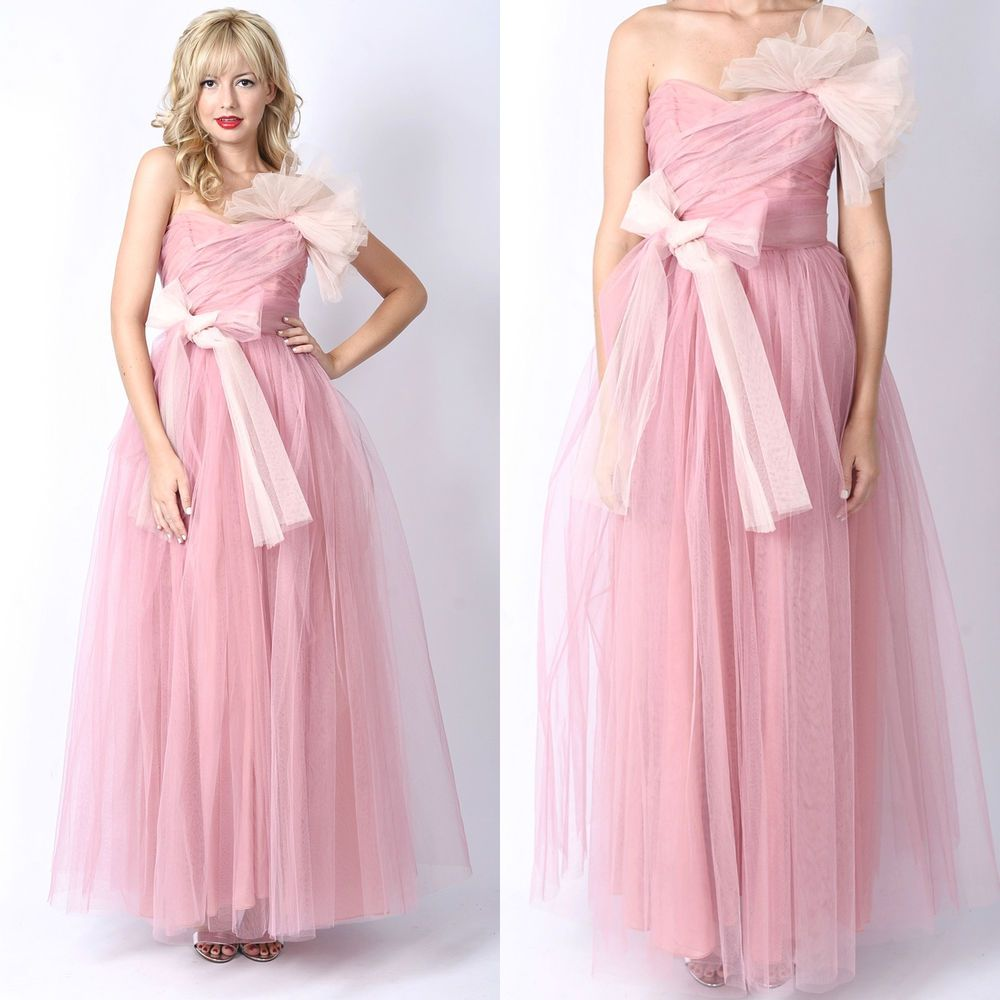 Vtg s s pink tulle sweetheart dress party prom gown formal xs