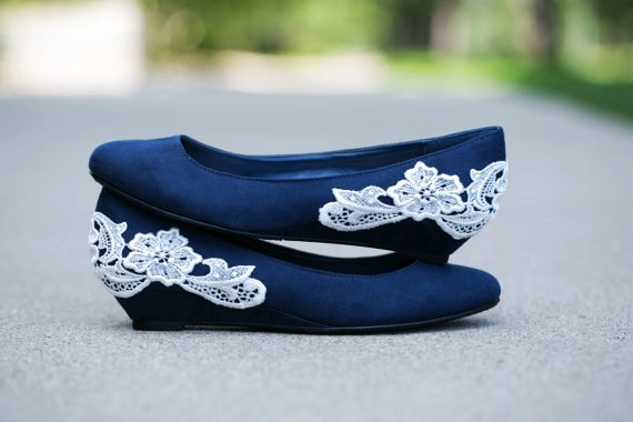 Navy Blue Ballet Wedding Shoes With Ivory Lace Lique Perfect For The Reception