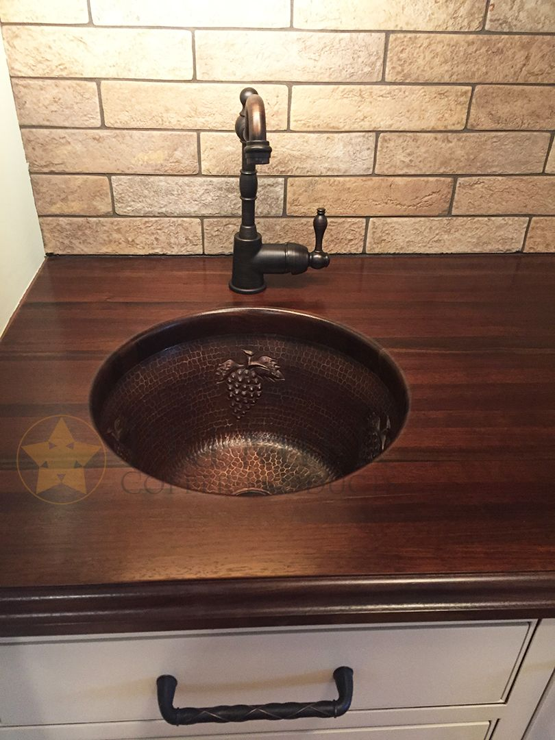 The 16 Round Copper Bar Sink With Grape Design Is The Perfect