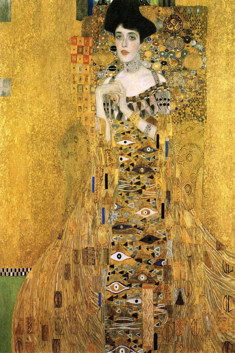 portrait of adele bloch bauer i 1907 art print by gustav klimt smartphone hintergrund. Black Bedroom Furniture Sets. Home Design Ideas