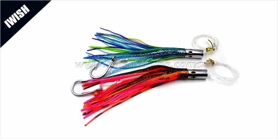 "4 NEW Rigged Squid Trolling Big Game Lure Bait Skirt 9/"" Purple"