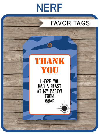 nerf party favor tags template blue camo pinterest nerf