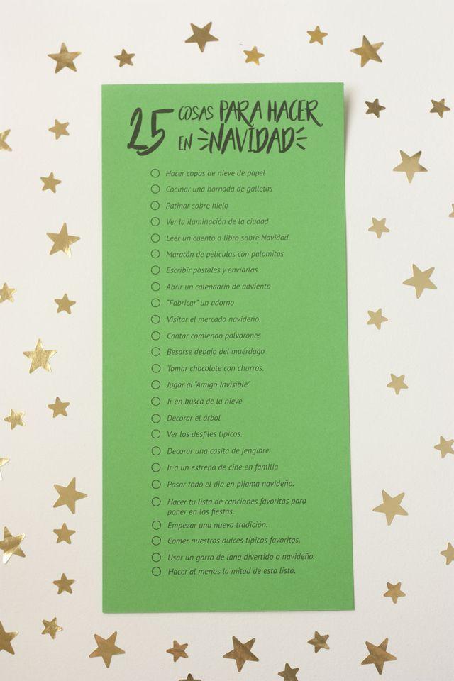 Imprimible 25 Cosas Para Hacer En Navidad Cosas Molonas Palabras Navidad Calendarios De Adviento De Navidad Calendario De Adviento
