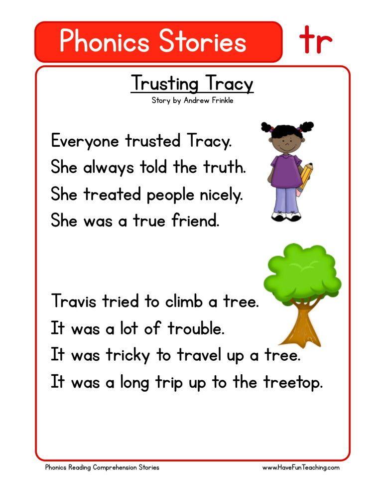 Reading Comprehension Worksheet Trusting Tracy First Grade Reading Comprehension Phonics Reading Passages Reading Comprehension Simple stories for kindergarten pdf