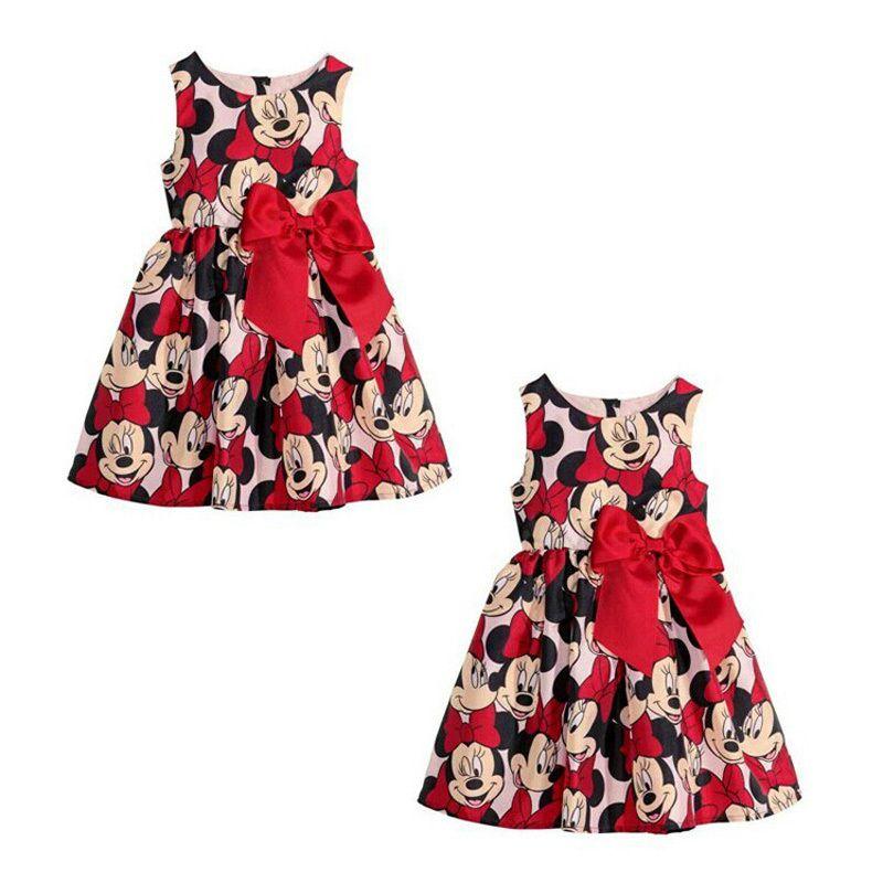 Barato Verão Minnie Mouse vestido de princesa para meninas impresso vestido de festa crianças crianças roupas de bebê com grande arco, Compro Qualidade Vestidos diretamente de fornecedores da China:          Descrição                                       Produtos                               :