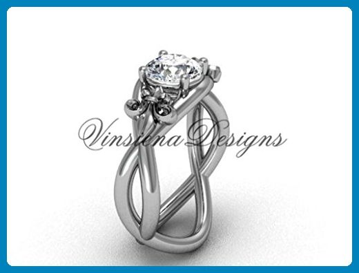 "Platinum Fleur de Lis engagement ring, ""Forever One"" Moissanite VD10024 - Wedding and engagement rings (*Amazon Partner-Link)"