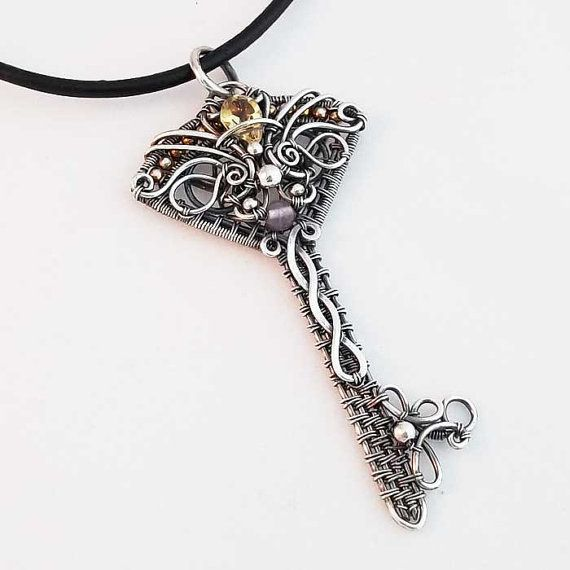 Skeleton key pendant in sterling silver citrine amethyst wire key charissa skeleton key pendant sterling silver by kschroederstudio aloadofball Images