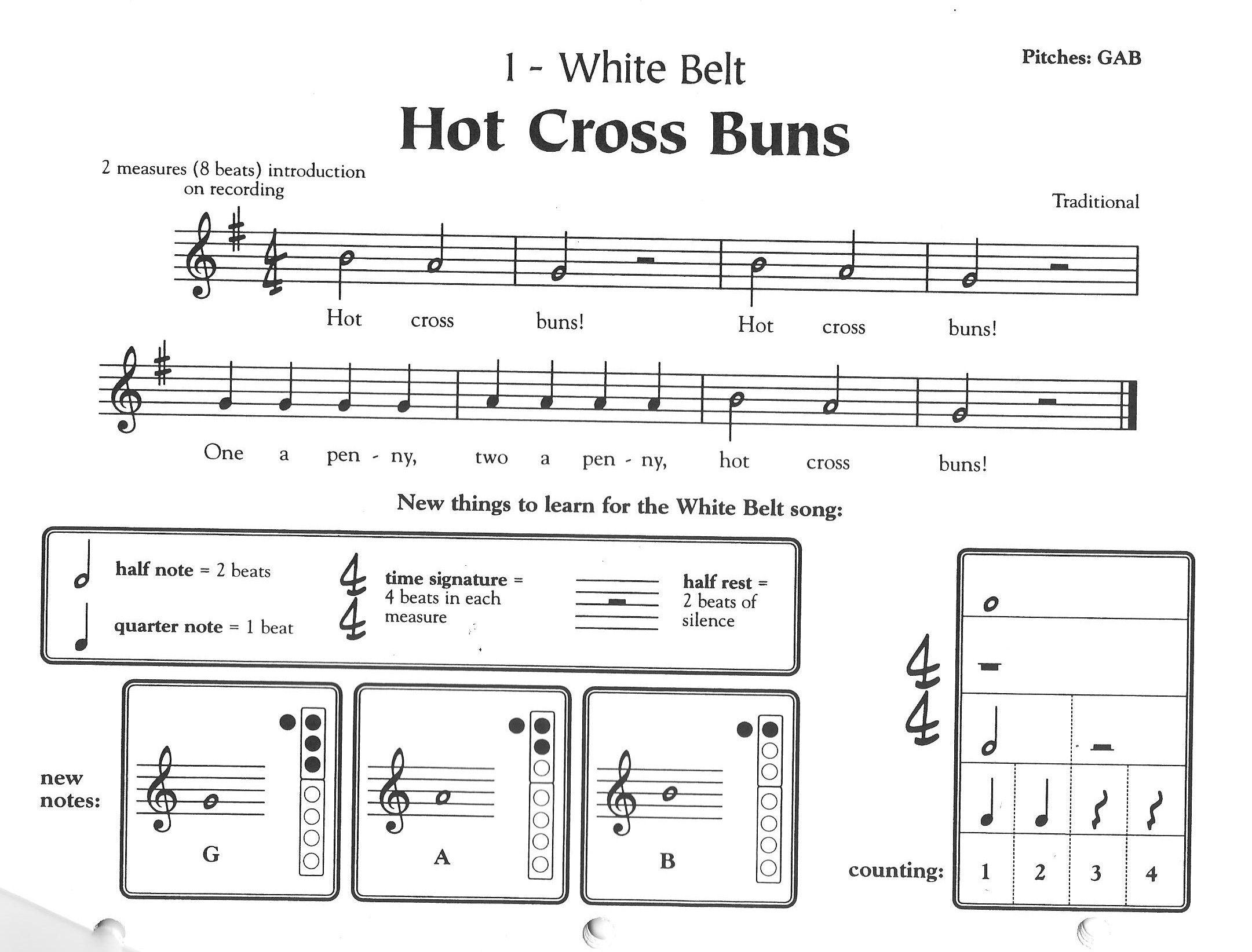 Recorder Karate 1 White Belt Hot Cross Buns 001