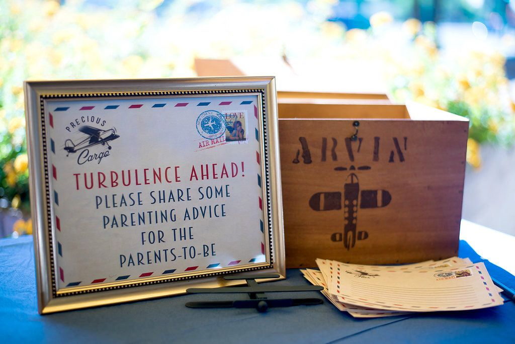 Advice sign and card, Post card, table sign, Precious Cargo, Baby Shower, vintage airplane, shower game
