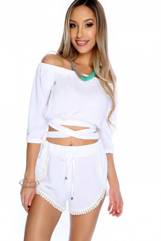 756e364112b SEXY WHITE OFF THE SHOULDER CROP TOP TWO PIECE OUTFIT #style #fashion  #trend #design #onlineshop #trend #shoptagr