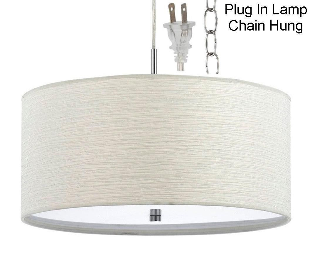 Plug In White Nickel Modern Drum Pendant Light Swag Lamp Hanging Chandelier 18 Wide