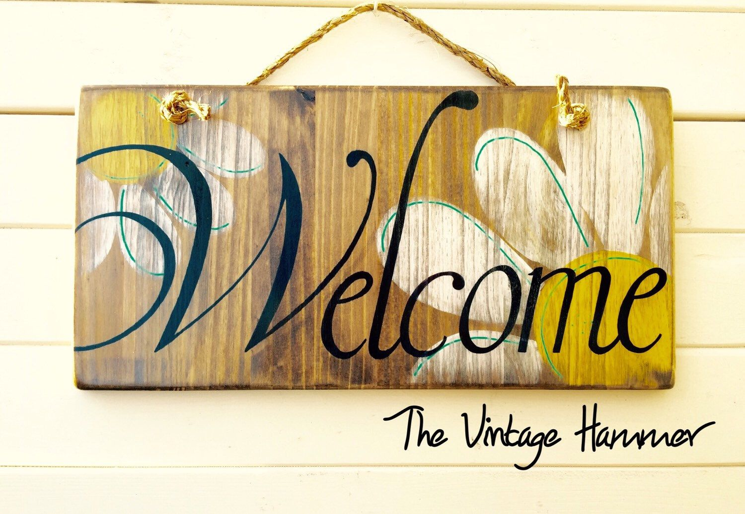 Welcome sign, wood sign saying, daisies, hand painted signs, wood ...