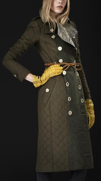 Burberry Prorsum Quilted Army Trench With Yellow Croc Gloves Military Fashion Redhead Fashion Burberry Trench Coat