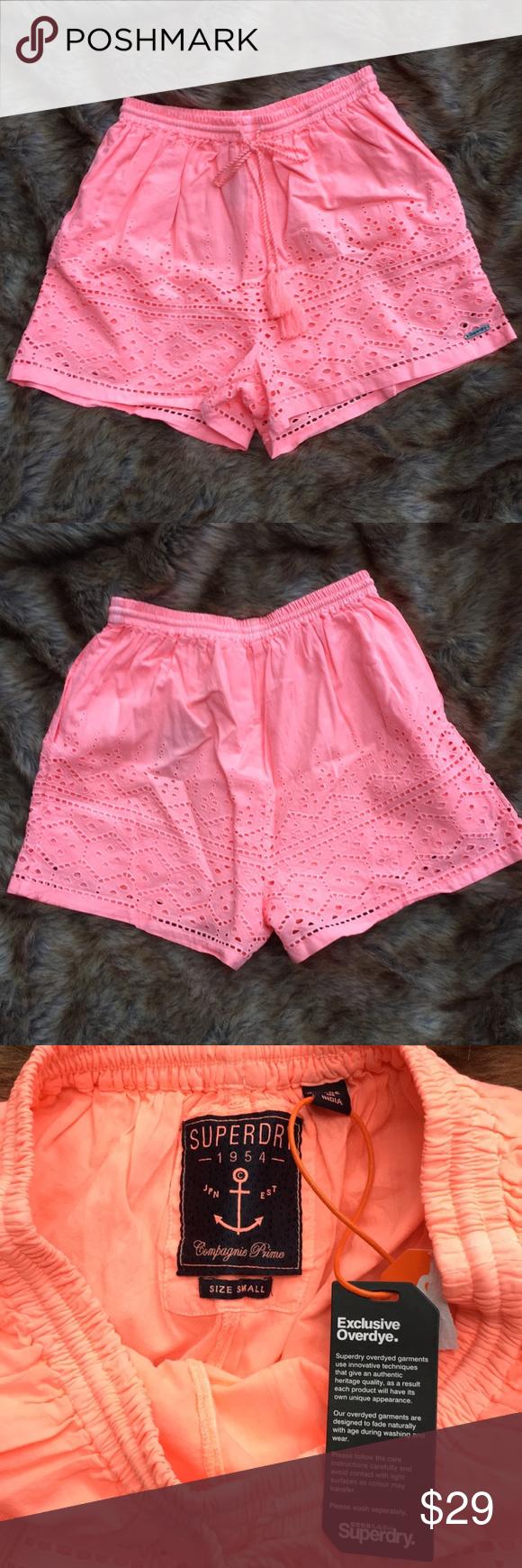 New Womens Superdry Pier Schiffli Shorts Fluro Coral