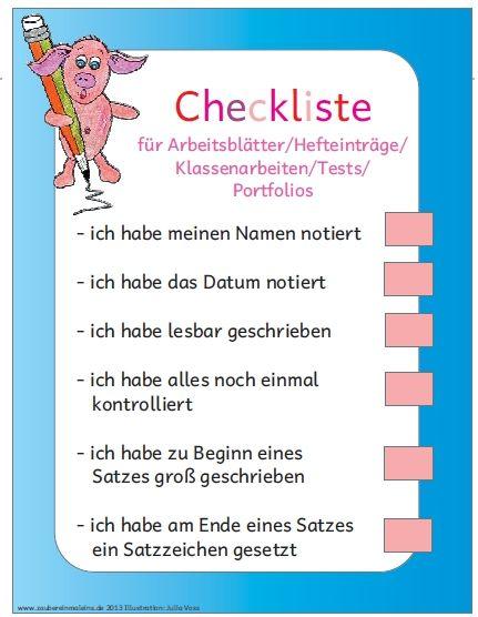 Organisation in der Grundschule: Checkliste für Hefteinträge und ...