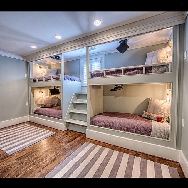 amazing boys bedroom bunk beds | Amazing built-in bunk bunk beds with a tv for each one ...