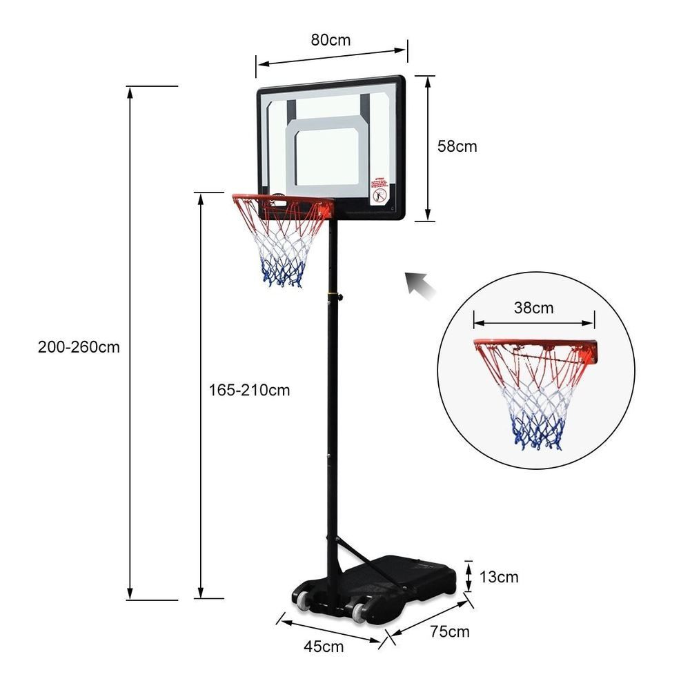 Portable Adjustable Basketball Ring Stand Backboard System Break Away Rim Kids Basketball Ring Basketball Backboard Basketball Rim