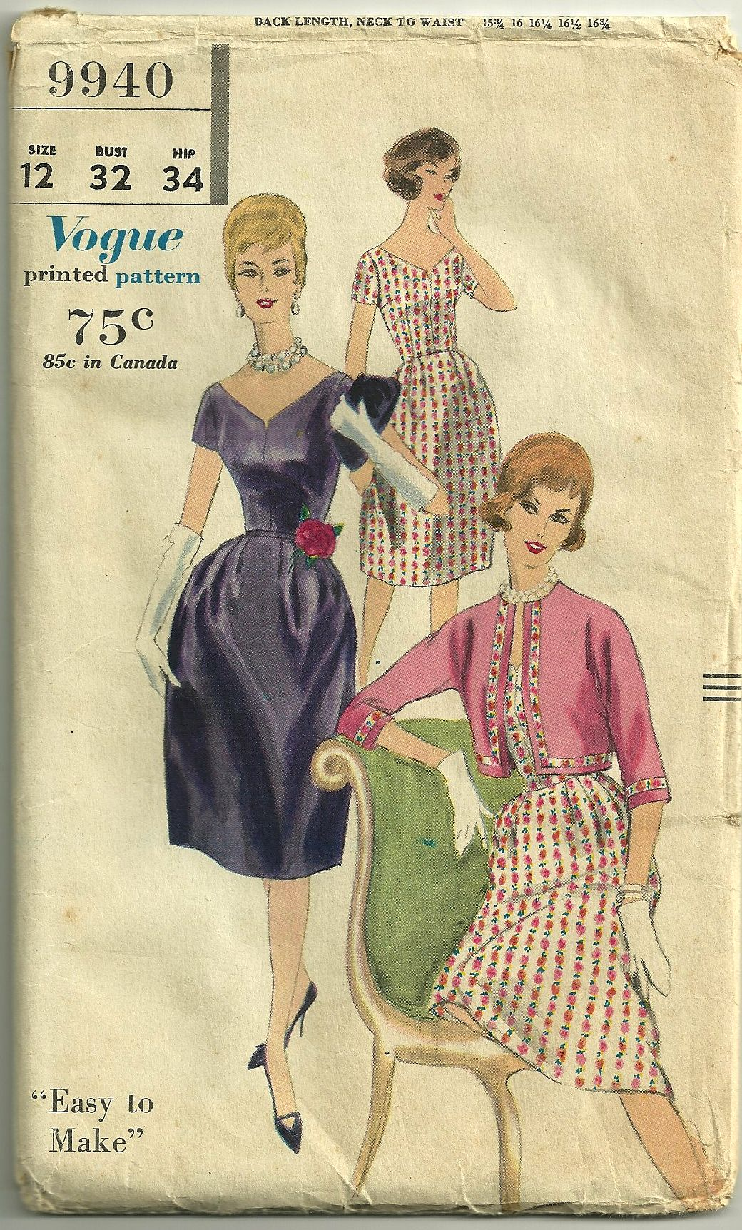 An early 1960s Vogue pattern.