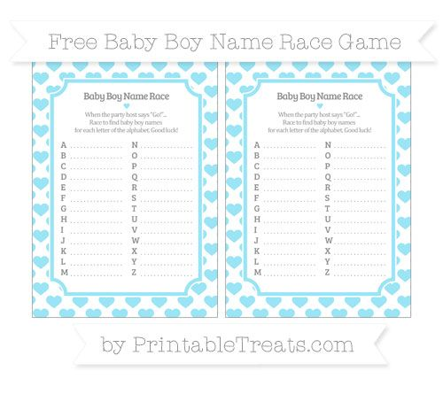 Pastel Aqua Blue Heart Pattern  Baby Boy Name Race Game