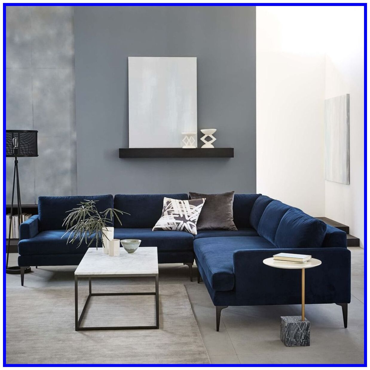 32 Reference Of Blue L Shaped Sofa Bed In 2020 Blue Sofas Living Room Blue Living Room Sofa Design